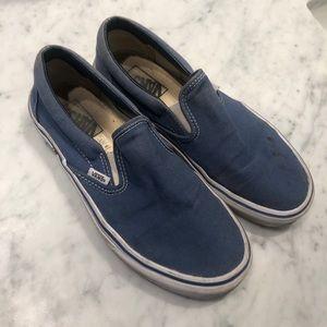 Navy blue Vans slip on